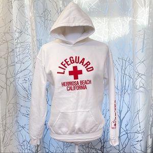 Hermosa beach CA lifeguard white hoodie sweater